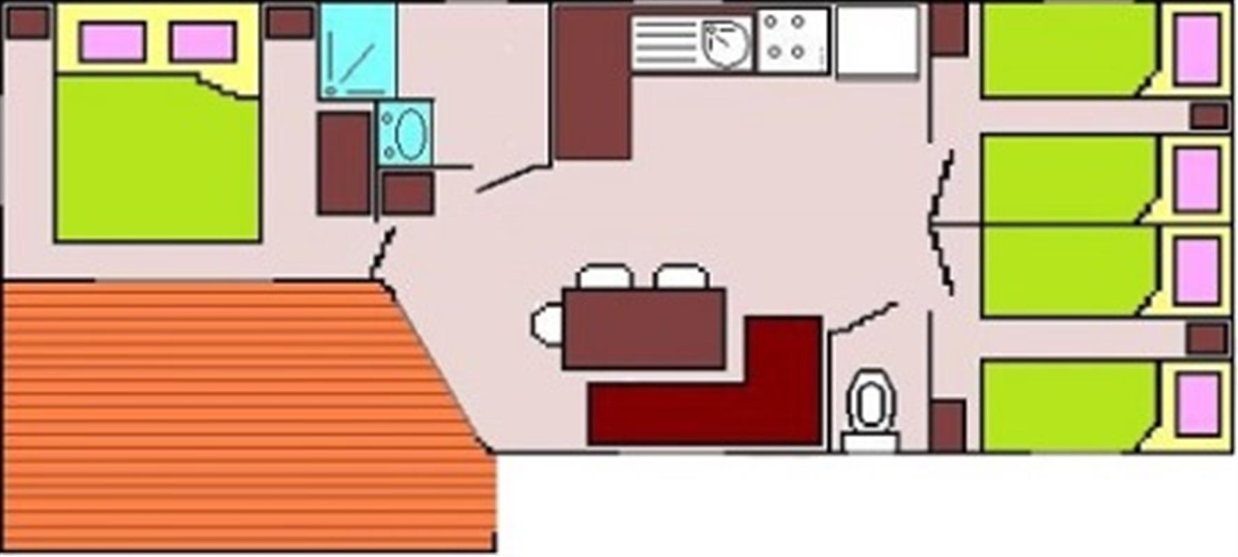 Mobil home pacifique 3 xl locations mobil homes seine for Salon hotellerie de plein air